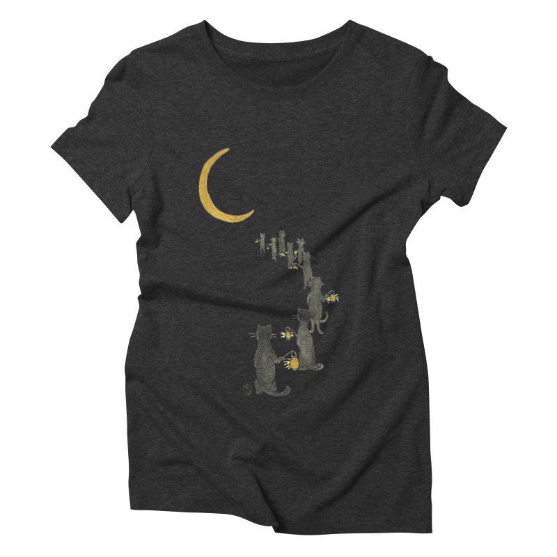 Neko Night Procession  Women's Triblend T-Shirt by Stephanie Inagaki