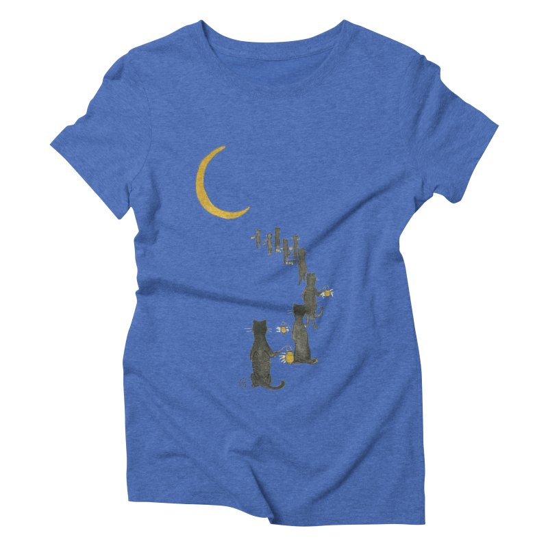 Neko Night Procession  Women's Triblend T-Shirt by stephanieinagaki's Artist Shop