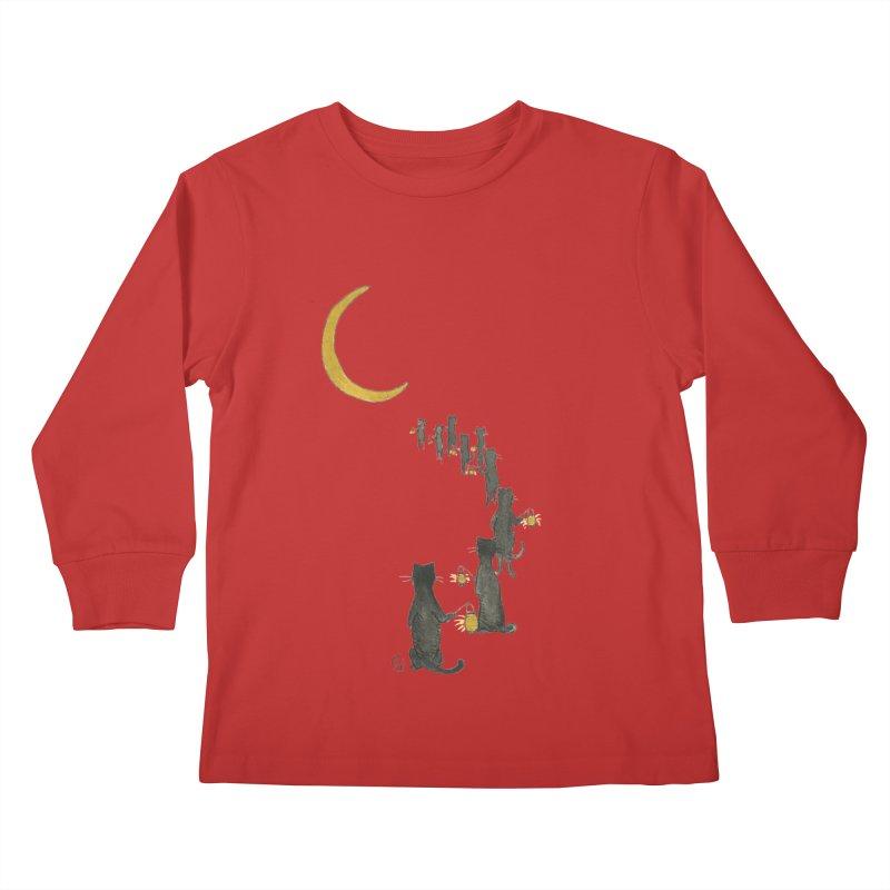Neko Night Procession  Kids Longsleeve T-Shirt by Stephanie Inagaki