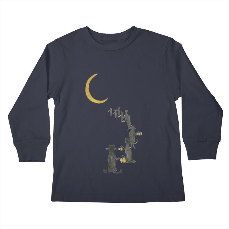 Neko Night Procession  Kids Longsleeve T-Shirt by stephanieinagaki's Artist Shop
