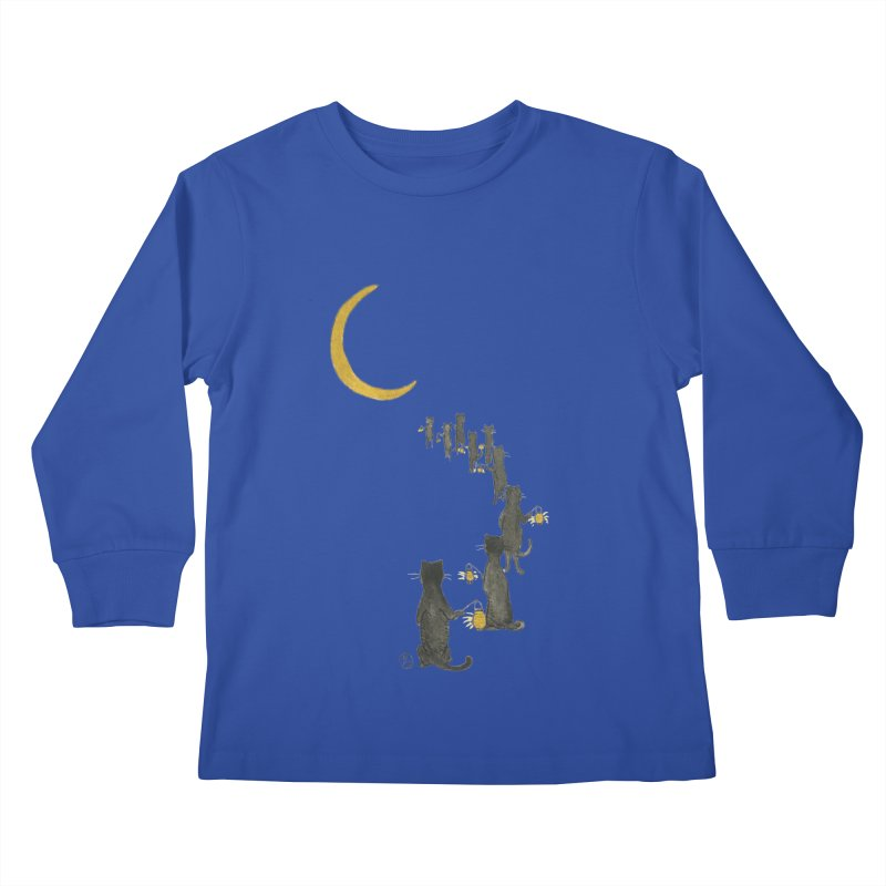 Neko Night Procession  Kids Longsleeve T-Shirt by Stephanie Inagaki