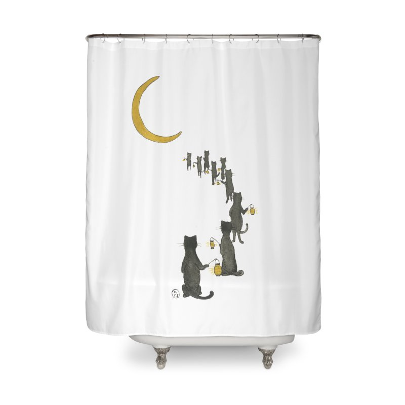 Neko Night Procession  Home Shower Curtain by Stephanie Inagaki