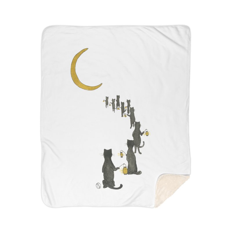 Neko Night Procession  Home Sherpa Blanket Blanket by Stephanie Inagaki