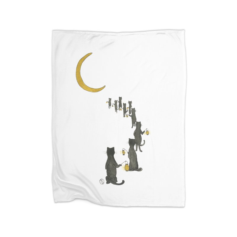 Neko Night Procession  Home Fleece Blanket Blanket by Stephanie Inagaki
