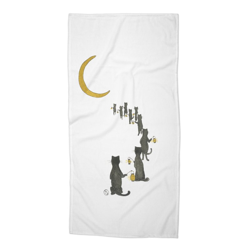 Neko Night Procession  Accessories Beach Towel by Stephanie Inagaki