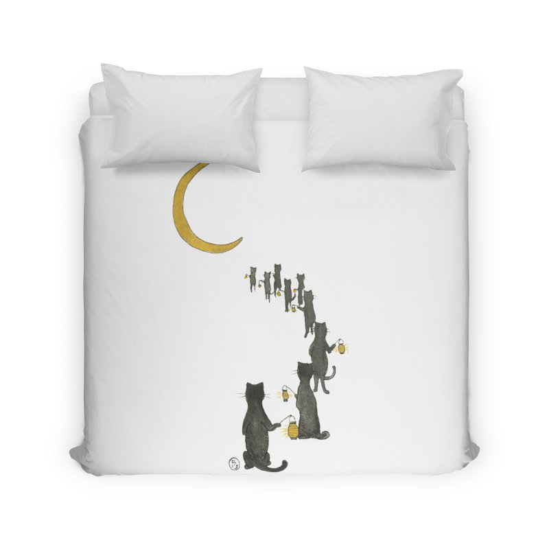 Neko Night Procession  Home Duvet by Stephanie Inagaki