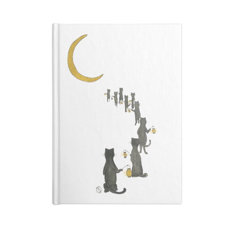 Neko Night Procession  Accessories Lined Journal Notebook by Stephanie Inagaki