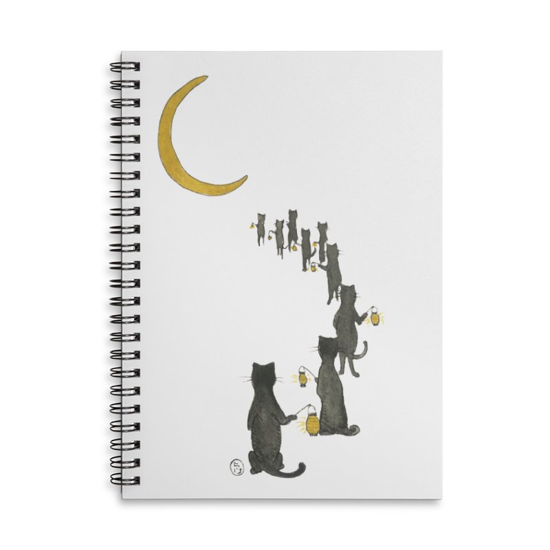 Neko Night Procession  Accessories Lined Spiral Notebook by Stephanie Inagaki