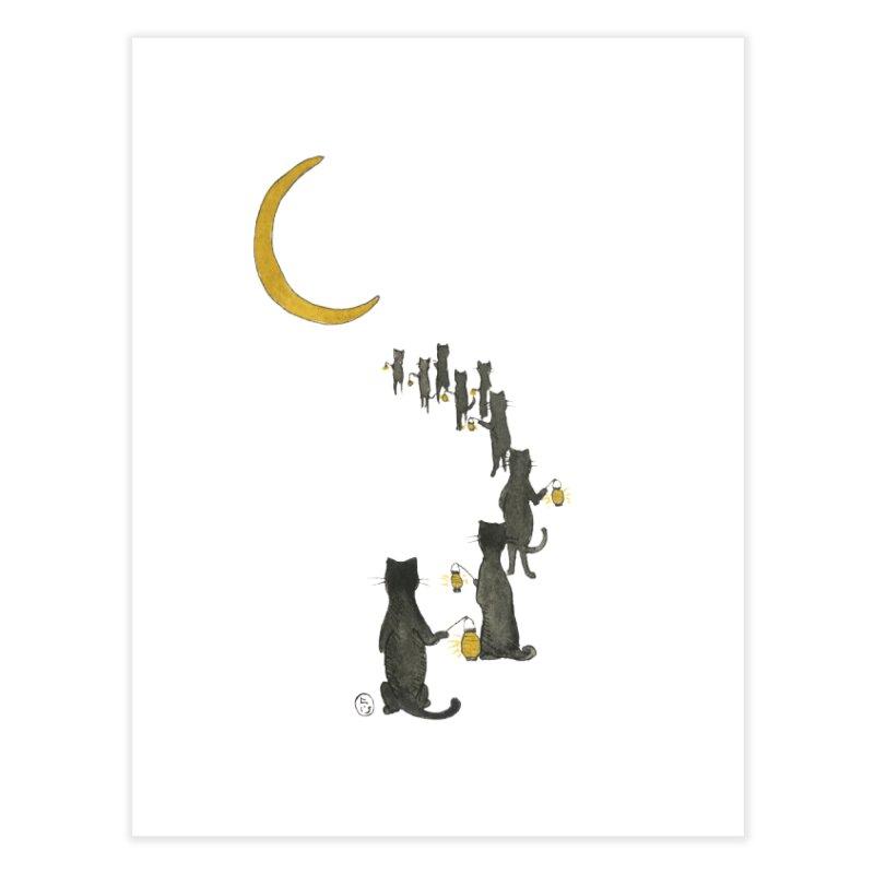 Neko Night Procession  Home Fine Art Print by Stephanie Inagaki