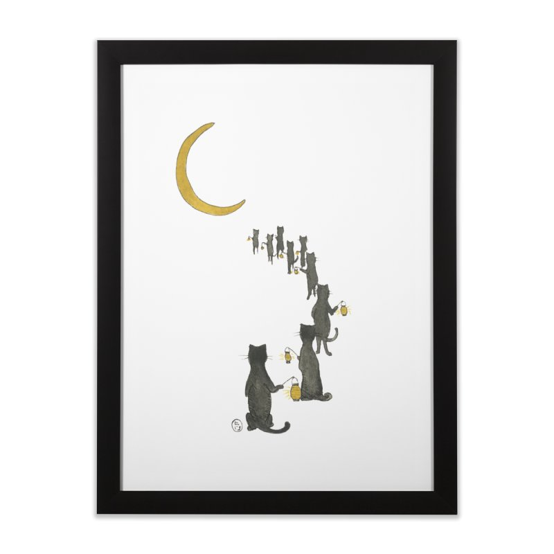 Neko Night Procession  Home Framed Fine Art Print by Stephanie Inagaki