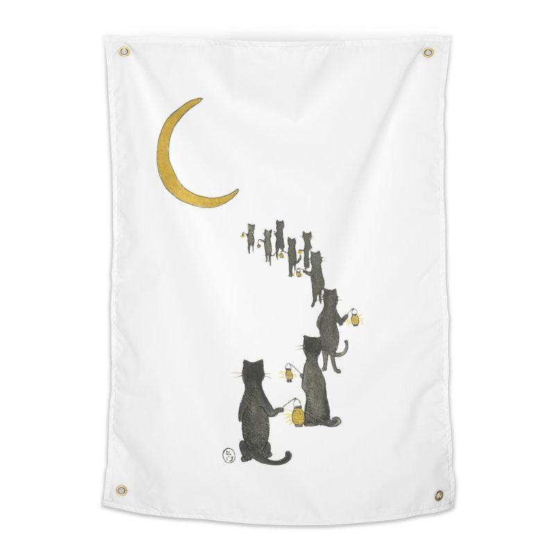 Neko Night Procession  Home Tapestry by Stephanie Inagaki