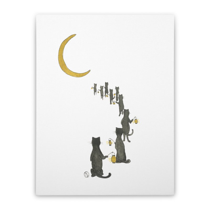 Neko Night Procession  Home Stretched Canvas by Stephanie Inagaki