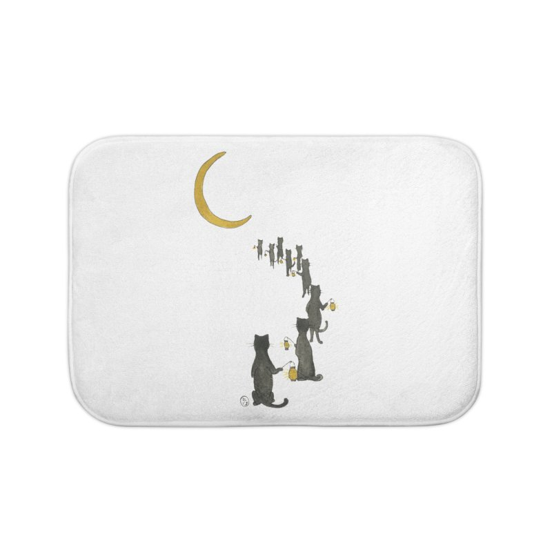 Neko Night Procession  Home Bath Mat by Stephanie Inagaki