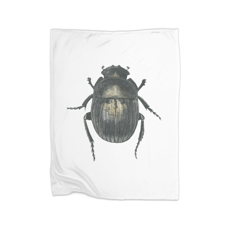 Death Scarab Home Fleece Blanket Blanket by Stephanie Inagaki
