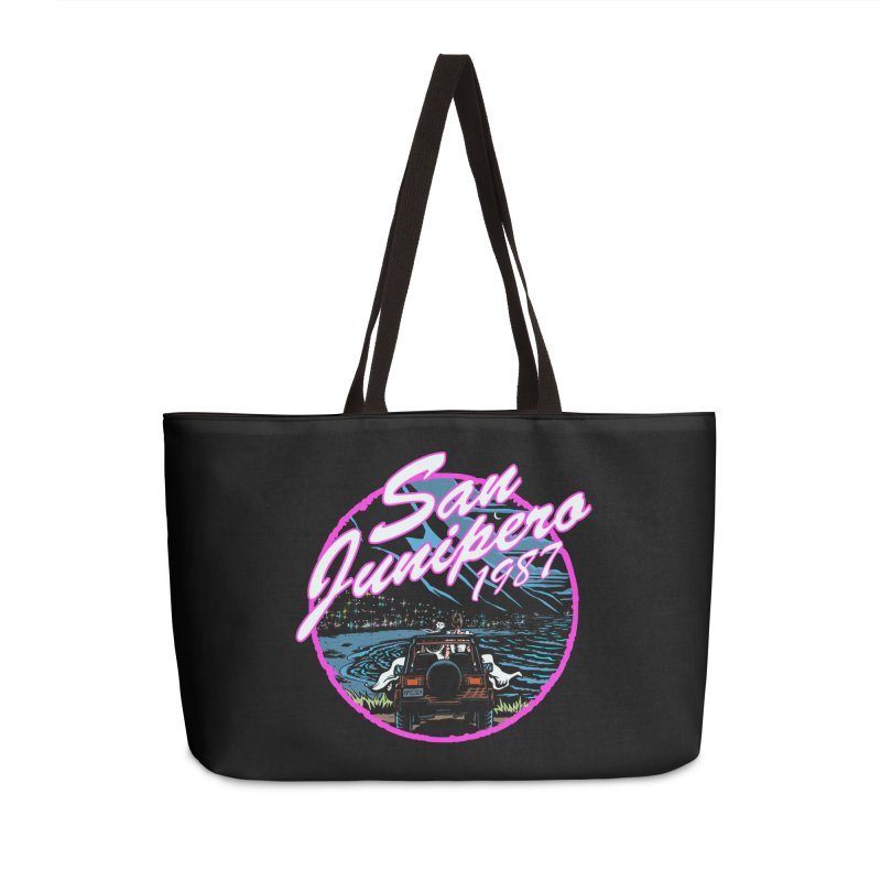 San Junipero in Pink Accessories Weekender Bag Bag by Steph Dere's Artist Shop