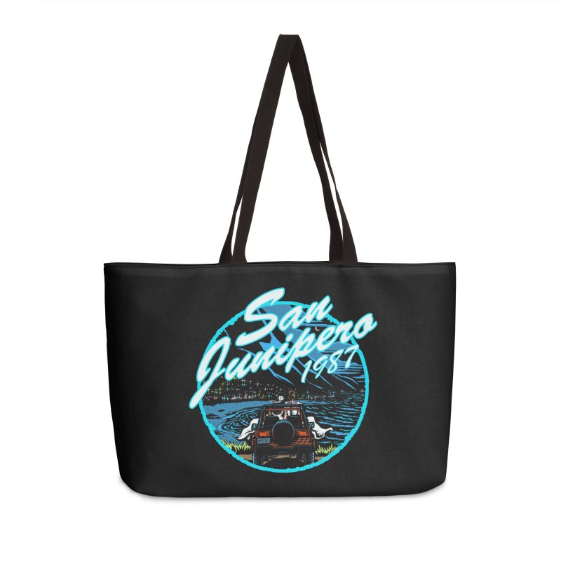 San Junipero in Blue Accessories Weekender Bag Bag by Steph Dere's Artist Shop