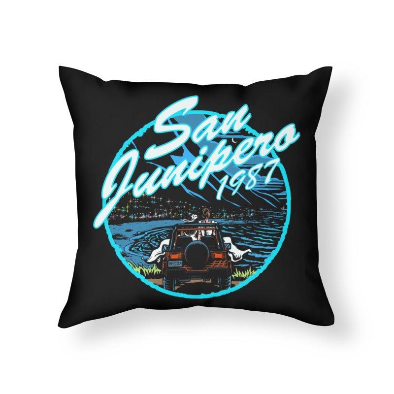San Junipero in Blue Home Throw Pillow by Steph Dere's Artist Shop