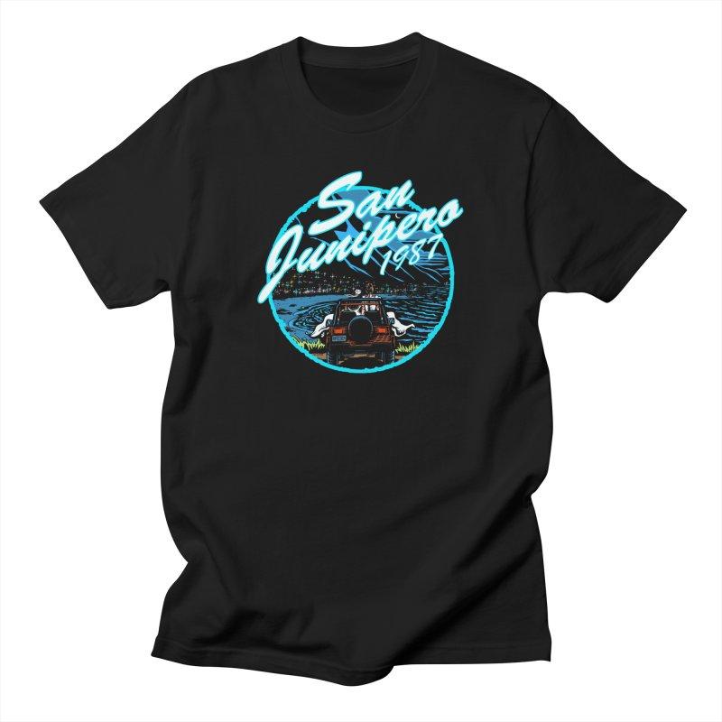 Vintage San Junipero in Blue Men's T-Shirt by Steph Dere's Artist Shop