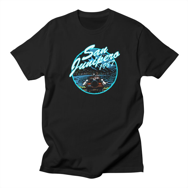 San Junipero in Blue Men's T-Shirt by Steph Dere's Artist Shop