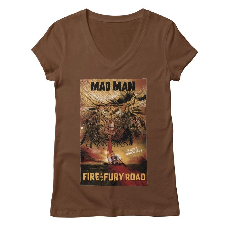 Fire & Fury Road Women's V-Neck by stephencase's Artist Shop