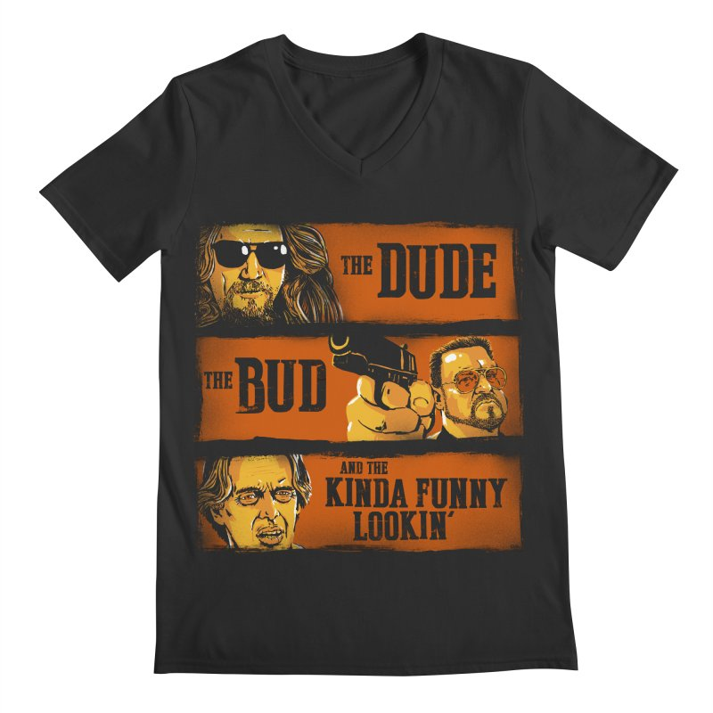 The Dude, the Bud and the Kinda Funny Lookin' Men's V-Neck by stephencase's Artist Shop