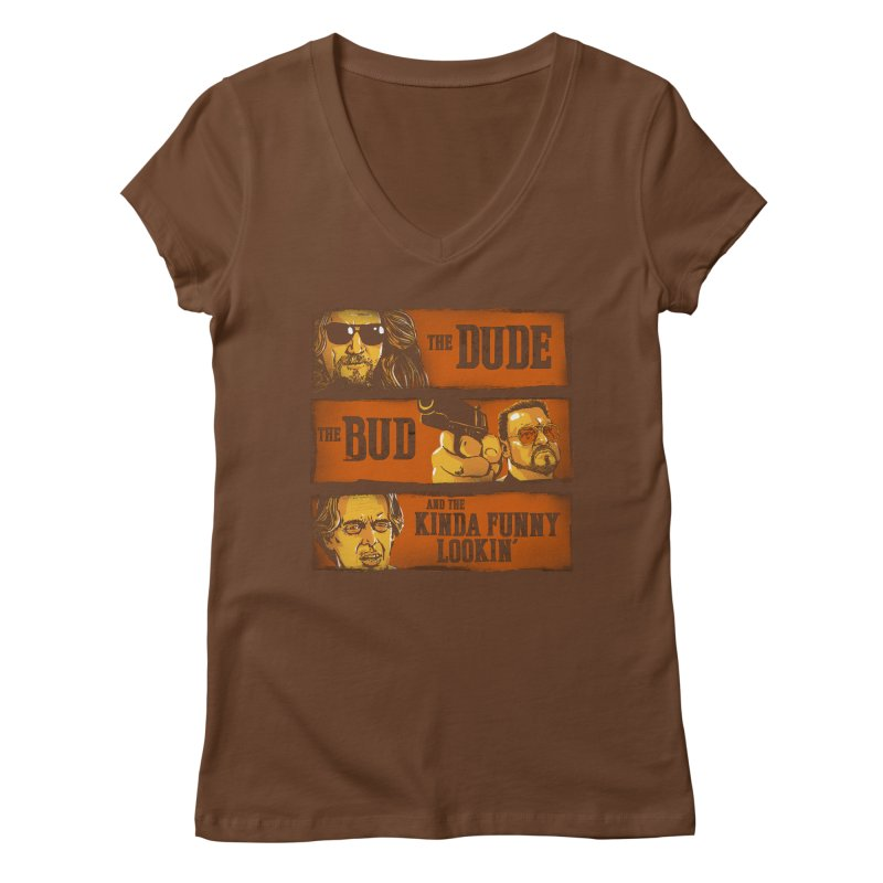 The Dude, the Bud and the Kinda Funny Lookin' Women's V-Neck by stephencase's Artist Shop