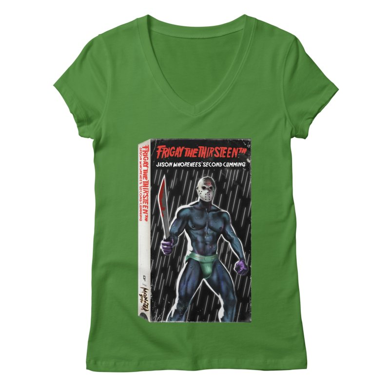 FRIGAY THE THIRSTEENTH VHS COVER Women's Regular V-Neck by Stephen Draws's Artist Shop