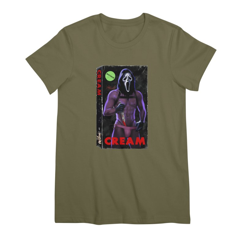 CREAM VHS COVER Women's Premium T-Shirt by Stephen Draws's Artist Shop