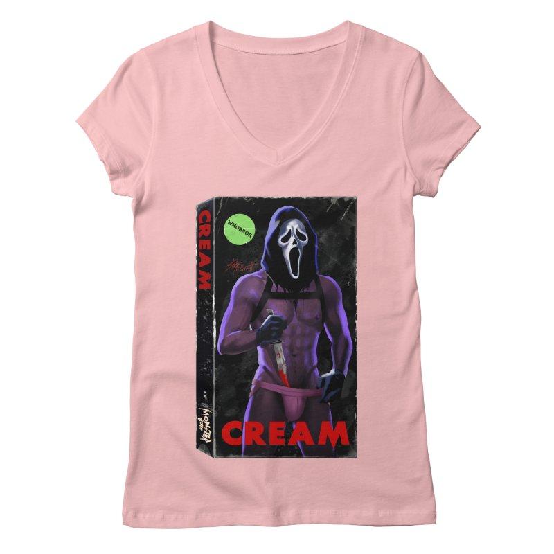 CREAM VHS COVER Women's Regular V-Neck by Stephen Draws's Artist Shop