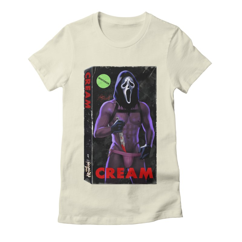CREAM VHS COVER Women's Fitted T-Shirt by Stephen Draws's Artist Shop