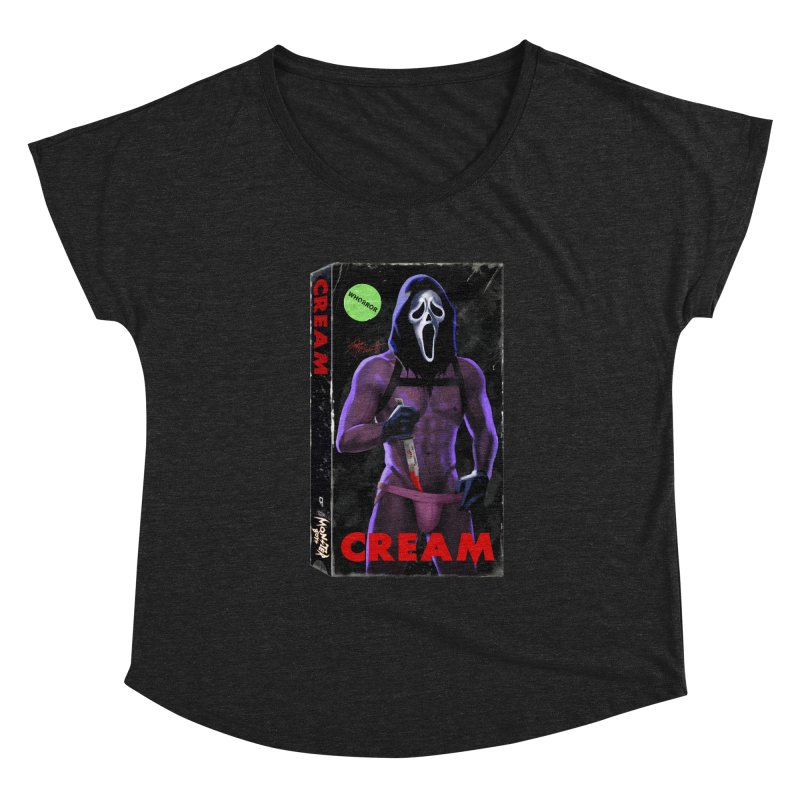 CREAM VHS COVER Women's Scoop Neck by Stephen Draws's Artist Shop