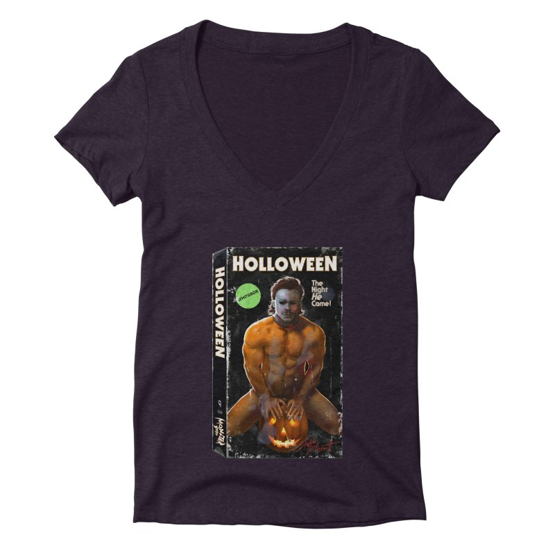 HOLLOWEEN VHS COVER Women's Deep V-Neck V-Neck by Stephen Draws's Artist Shop