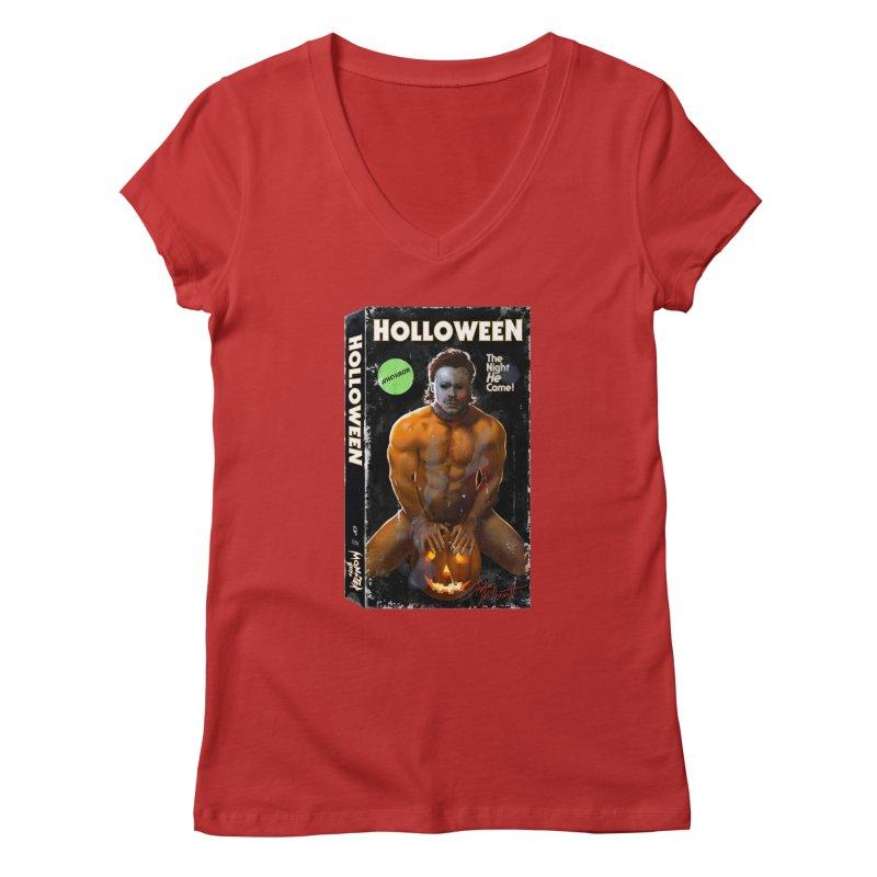 HOLLOWEEN VHS COVER Women's V-Neck by Stephen Draws's Artist Shop