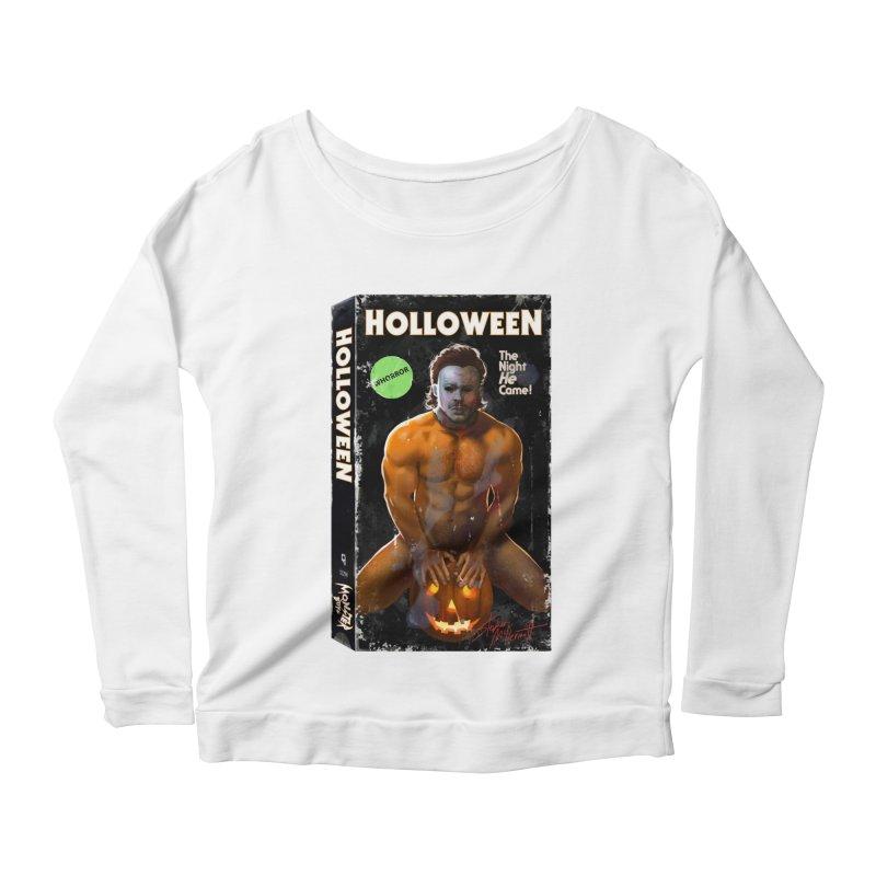 HOLLOWEEN VHS COVER Women's Scoop Neck Longsleeve T-Shirt by Stephen Draws's Artist Shop