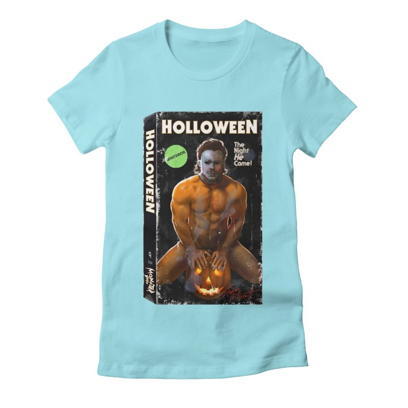 HOLLOWEEN VHS COVER Women's Fitted T-Shirt by Stephen Draws's Artist Shop
