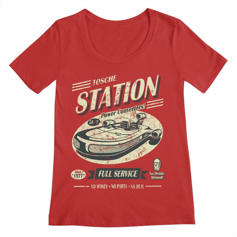 Tosche Station Women's Regular Scoop Neck by Stephen Hartman Illustration Shop