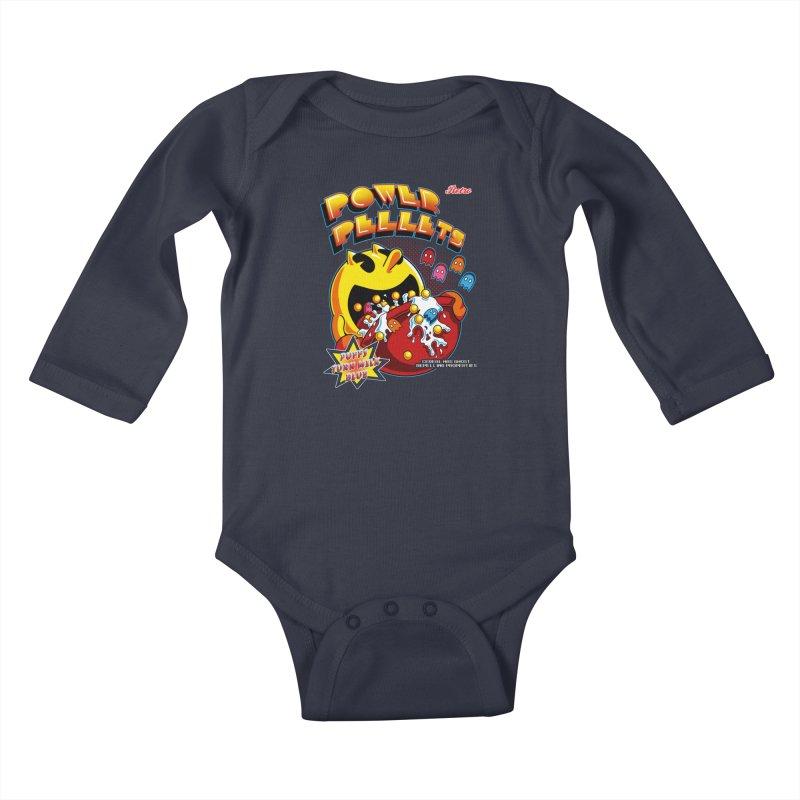 Power Pellets Kids Baby Longsleeve Bodysuit by Stephen Hartman Illustration Shop