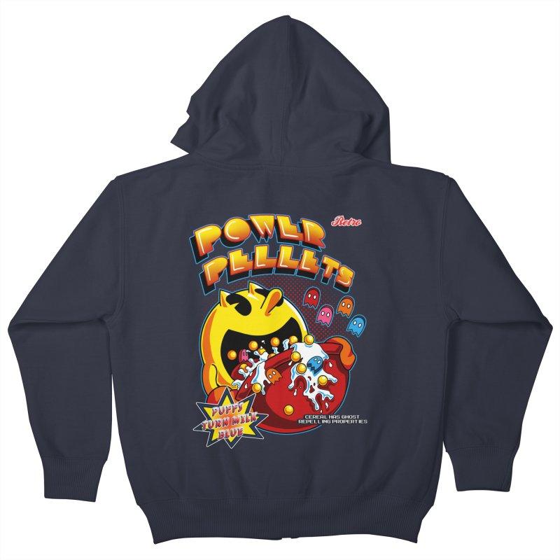Power Pellets Kids Zip-Up Hoody by Stephen Hartman Illustration Shop