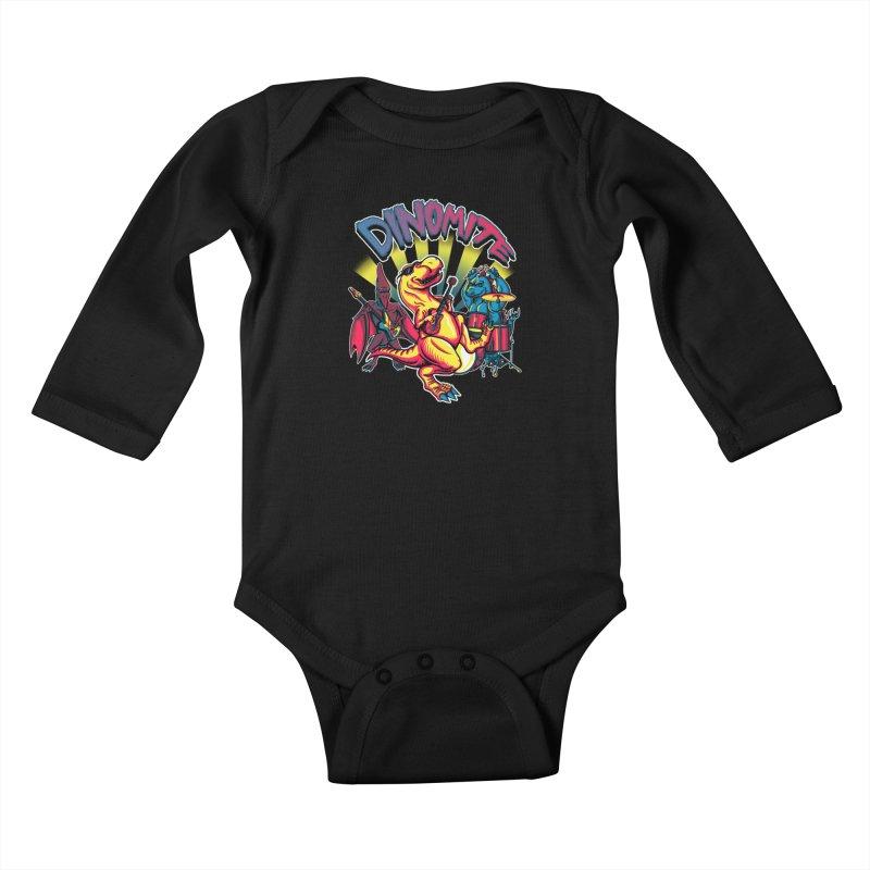 Dinomite Kids Baby Longsleeve Bodysuit by Stephen Hartman Illustration Shop