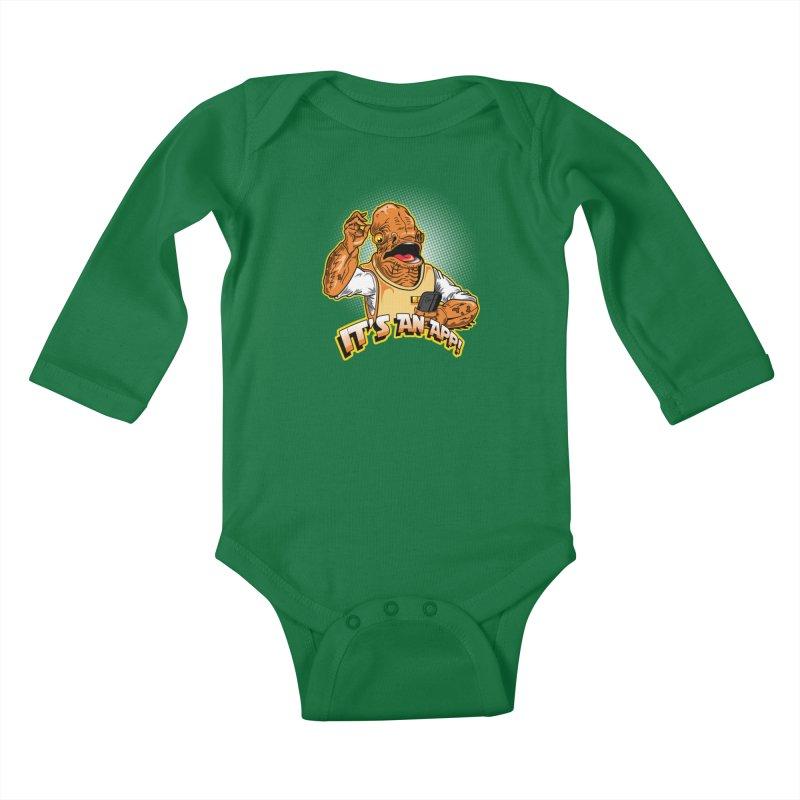 It's an App!! Kids Baby Longsleeve Bodysuit by Stephen Hartman Illustration Shop