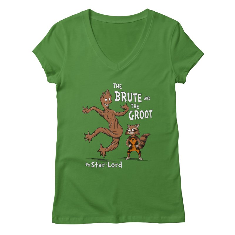 The Brute and The Groot Women's V-Neck by Stephen Hartman Illustration Shop