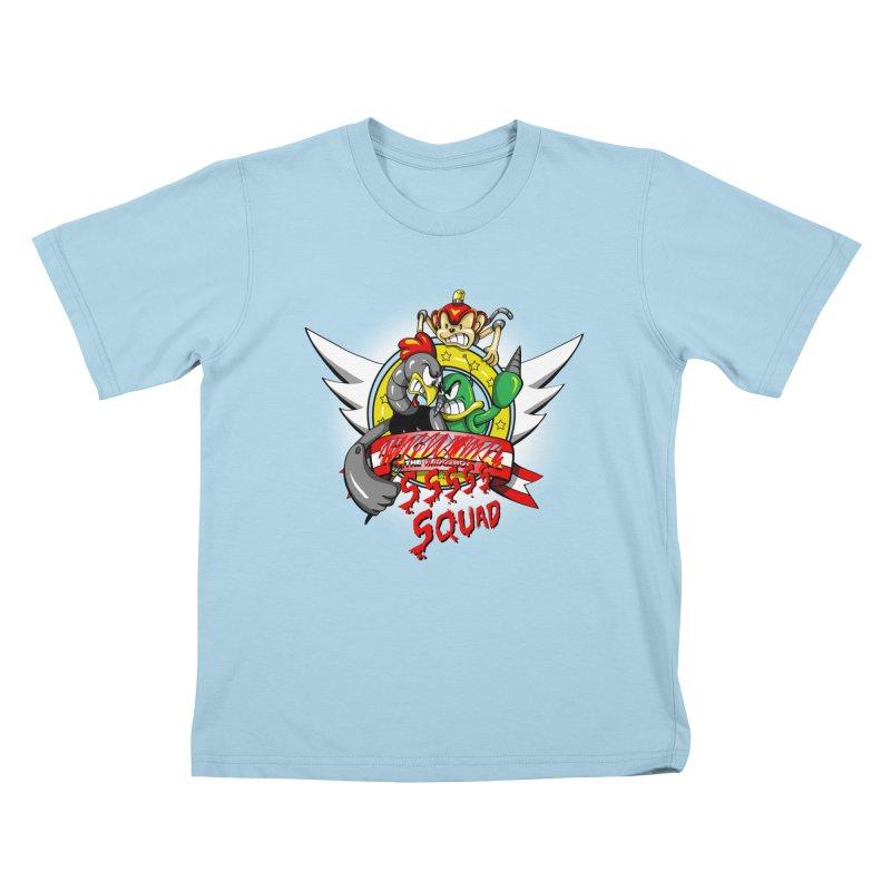 Hedgehog Hunters Kids T-Shirt by Stephen Hartman Illustration Shop