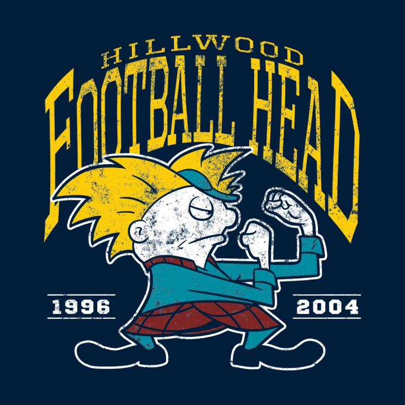 Football Head Kids T-Shirt by Stephen Hartman Illustration Shop
