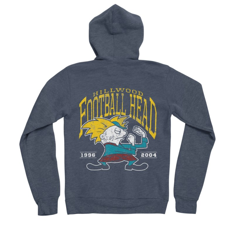 Football Head Men's Sponge Fleece Zip-Up Hoody by Stephen Hartman Illustration Shop