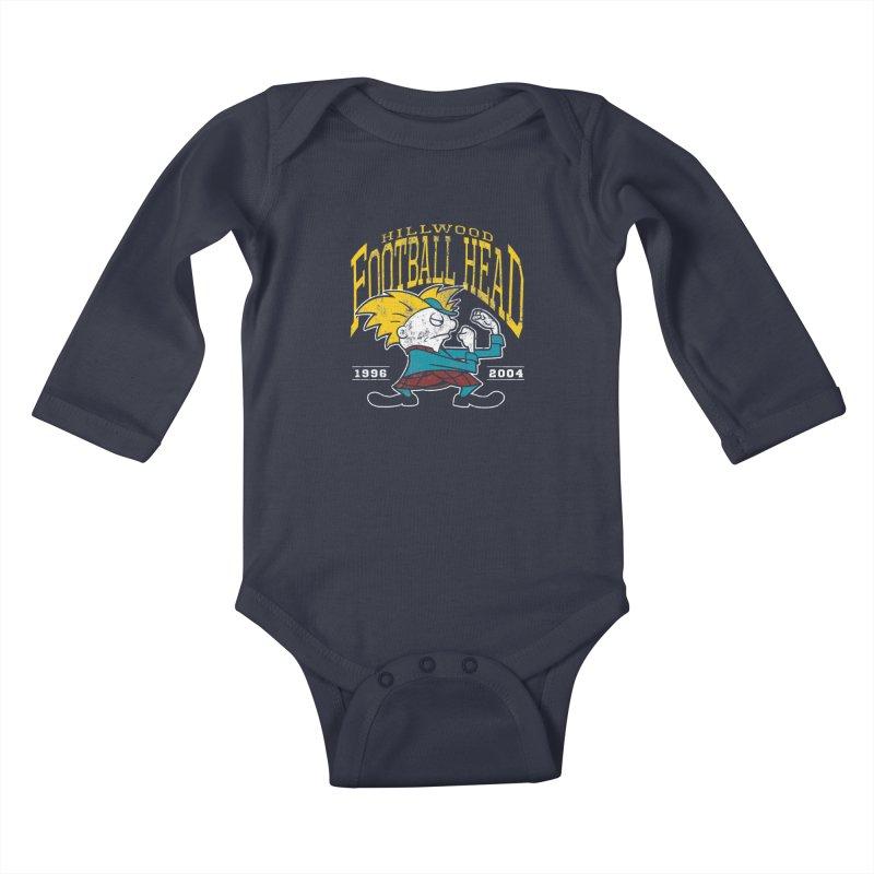 Football Head Kids Baby Longsleeve Bodysuit by Stephen Hartman Illustration Shop