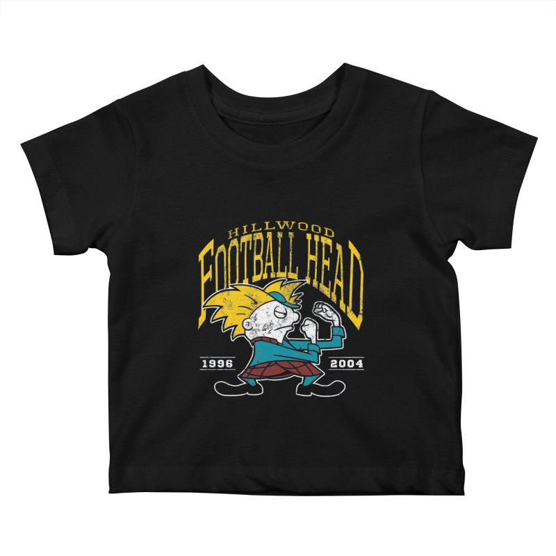 Football Head Kids Baby T-Shirt by Stephen Hartman Illustration Shop