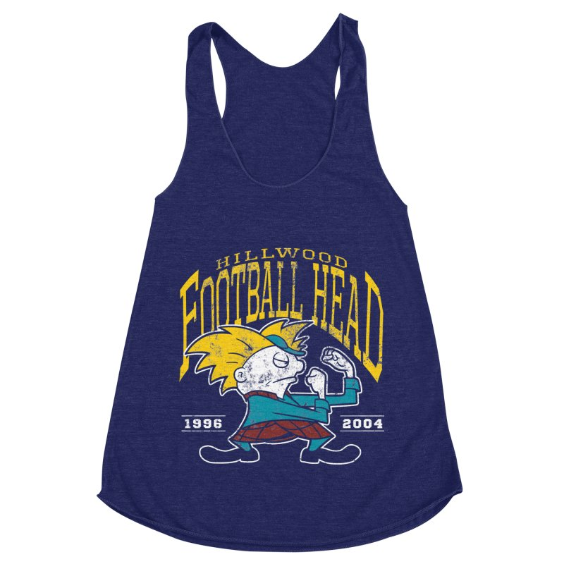 Football Head Women's Racerback Triblend Tank by Stephen Hartman Illustration Shop