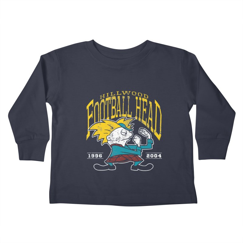 Football Head Kids Toddler Longsleeve T-Shirt by Stephen Hartman Illustration Shop
