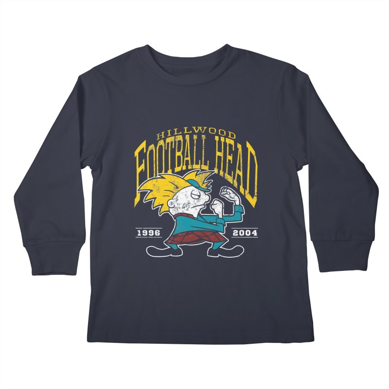 Football Head Kids Longsleeve T-Shirt by Stephen Hartman Illustration Shop
