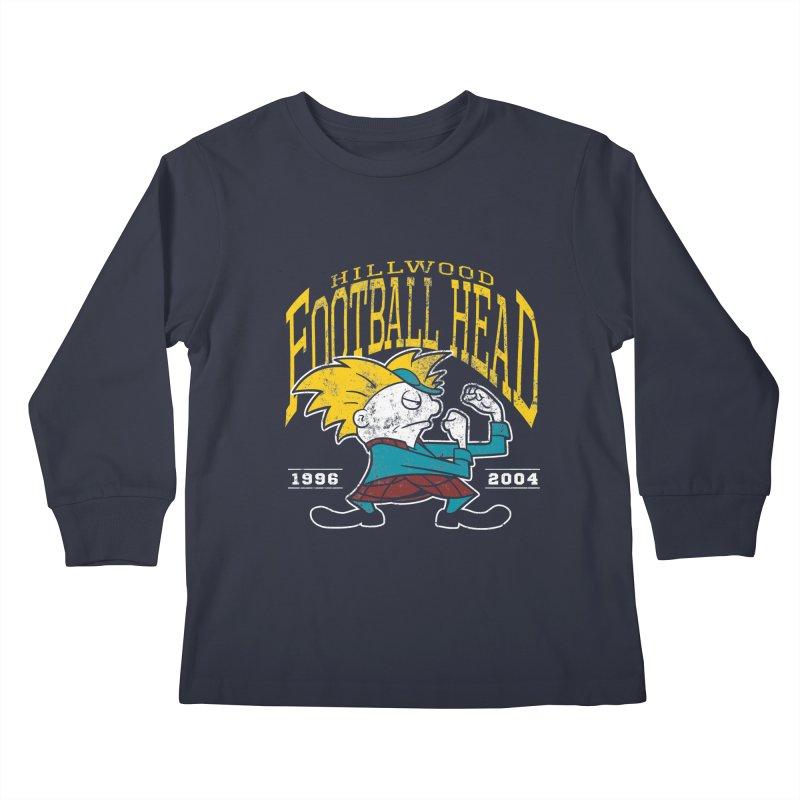 Football Head Kids Longsleeve T-Shirt by Stephen Hartman Illustration Shop